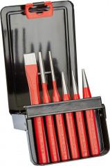 Jeu de 6 outils avec pointeau, burin plat, chasse-goupilles, chasse-pointe