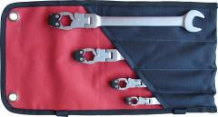 Jeu de clés à tuyauter tête articulée 10-19mm 4 pièces
