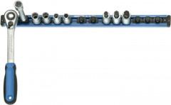 Rack avec 13 adaptateurs mâles ainsi que 2 adaptateurs femelles 4 pans 1/4