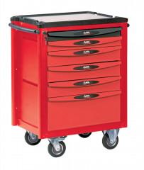 servante 6 tiroirs rouge et grise