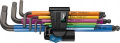 Jeu de clés mâles coudées Multicolor avec porte-vis 9 pièces Wera