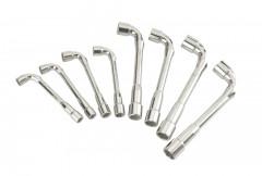 jeu de 8 cles a pipe debouchees 10 a 19 mm 6x6 pans