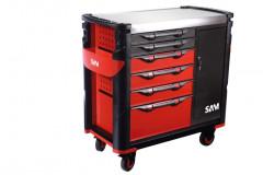servante extra large 6 tiroirs avec armoire et plateau inox