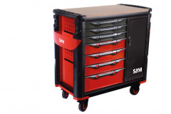servante extra large 7 tiroirs avec armoire et plateau bois
