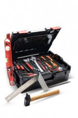 composition d'outils indispensables avec caisse de rangement 23 l