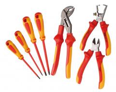 jeu de 7 outils isoles 1000 volts 3 pinces + 4 tournevis vde