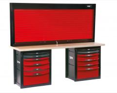 etabli d'atelier 12 tiroirs avec armoire a rideau